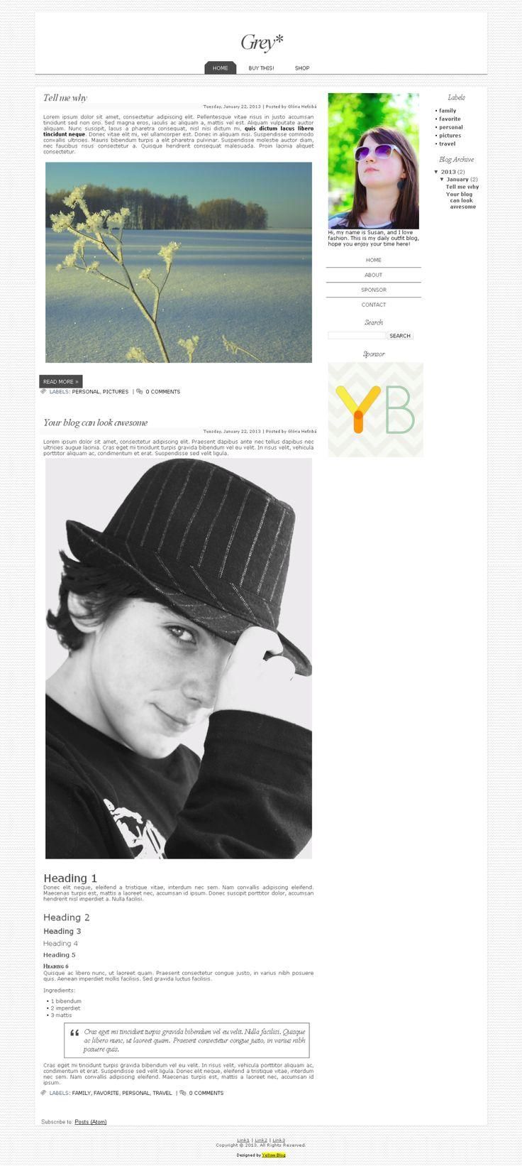 Grey - Blogger, Worpress | Yellow Blog Design | LIVE DEMO http://1312vv.blogspot.com ($20.99) #blog #layout #template #theme #custom #design #blogger #blogspot #wordpress #blogdesign