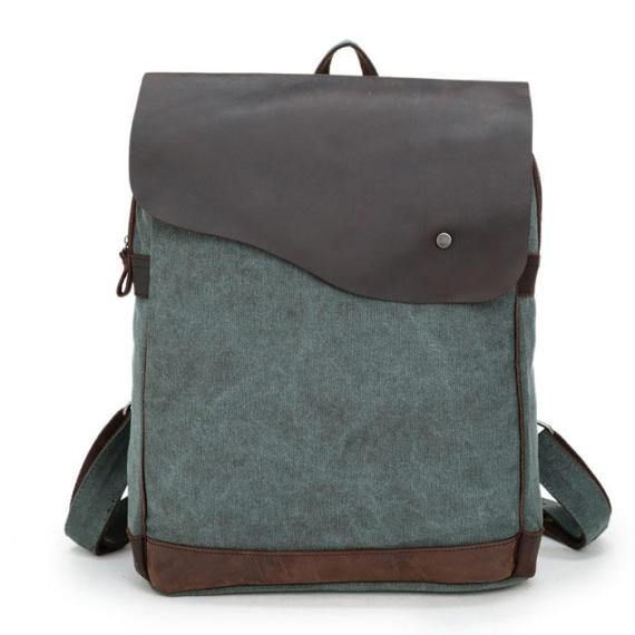 Size:Height:45CM(17.72); Width:32CM(12.6); Thickness:12CM(4.72)(Notice:1-2CM Mistake is Allowed) Color:Green/Gray/Blue Internal Structure:Zip Pocket/Cell Phone Pocket/Document Pocket Material:Canvas/Leather Style:Simple/College/Retro Capacity:Can Hold The A4 Paper And 14-inch Laptop Fashion Element:Solid/Square #school #backpack #bag