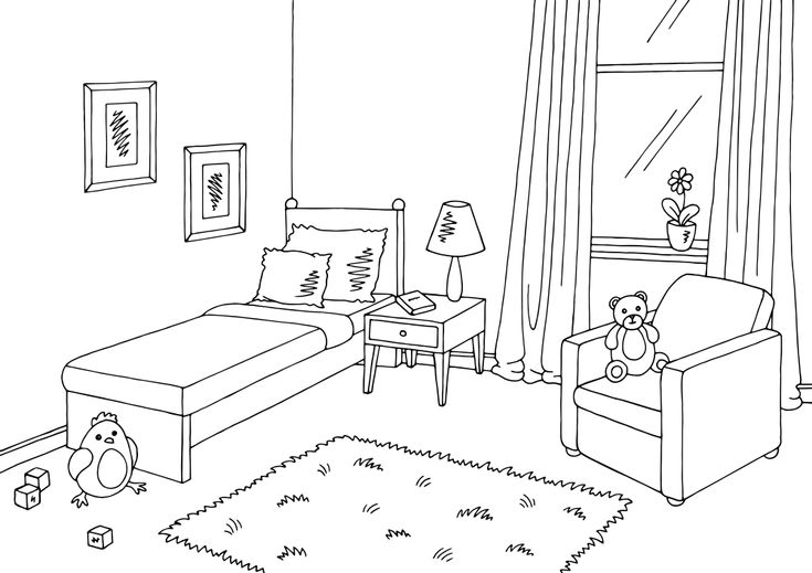 Children Room Graphic Black White Interior Room Perspective Drawing Black And White Interior Kids Interior Room