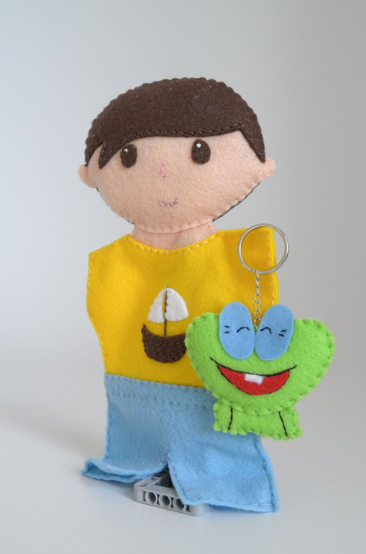 Boy doll and his frog keychain - boy toddler, boy nursery, boy party favors, sail boat, frog gifts - by FeltforAdults on Etsy
