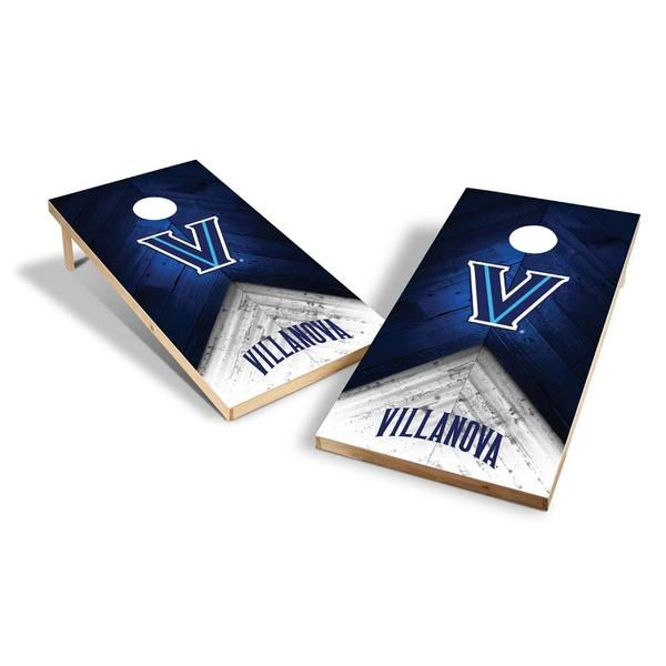 Tailgate season done right.  The handsome regulation size NCAA Villanova Wildcats Tailgate Bag Toss Cornhole Set shows your true Wildcats colors whether you are at a tailgate party, the park or in your backyard.  You receive two all wood construction, 2-foot x 4-foot boards with full surface team graphics, eight 16oz regulation bean bags, and game instructions.  Score big points with your friends and family with this easy to set up, easy to play bean bag toss game.  FEATURES  All Wood…