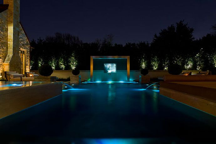Luxury Pool With Projection On Water Screen Harold