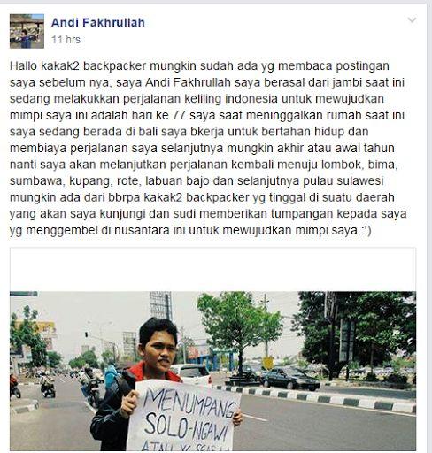 Silahkan baca artikel Andi Fakhrullah Menggapai Mimpi Keliling Indonesia Dengan Ngegembel ini selengkapnya di Widodo Groho Blog