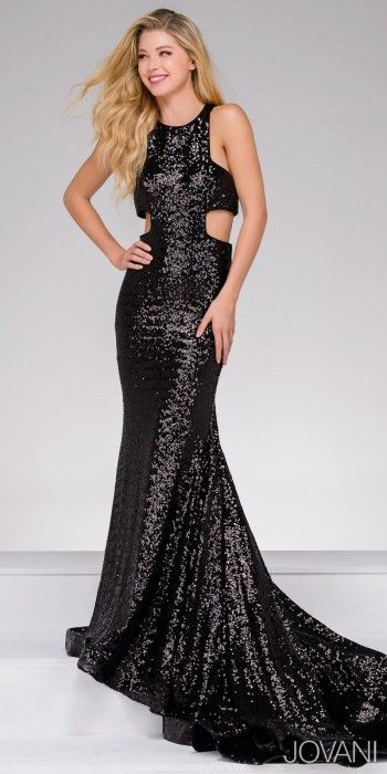 Dazzle the crowd upon your arrival in this Sequin Side Cut Outs Prom Dress by Jovani. This chic style is fully embellished with sequins and has a long elegant sweep train. The bodice include sexy side cut outs and a racer back for a sporty style. #edressme