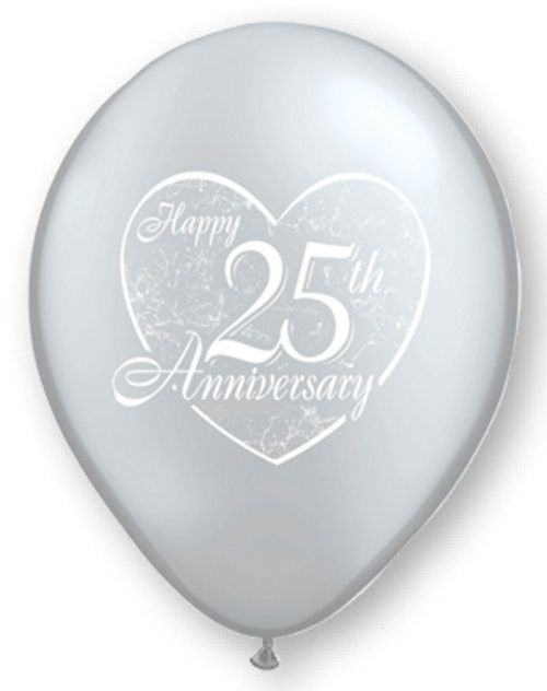 Qualatex Silver Happy 25th Anniversary Latex Balloons