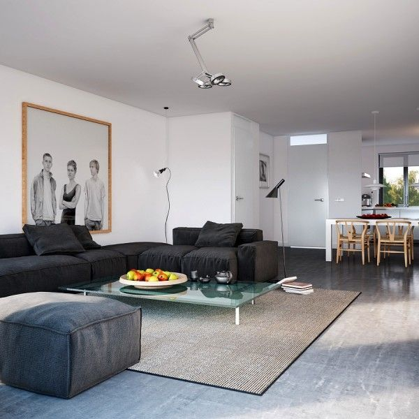 Трехместный D- Обычный камень квартира с природным Аксессуары живой кухней открытого плана столовой