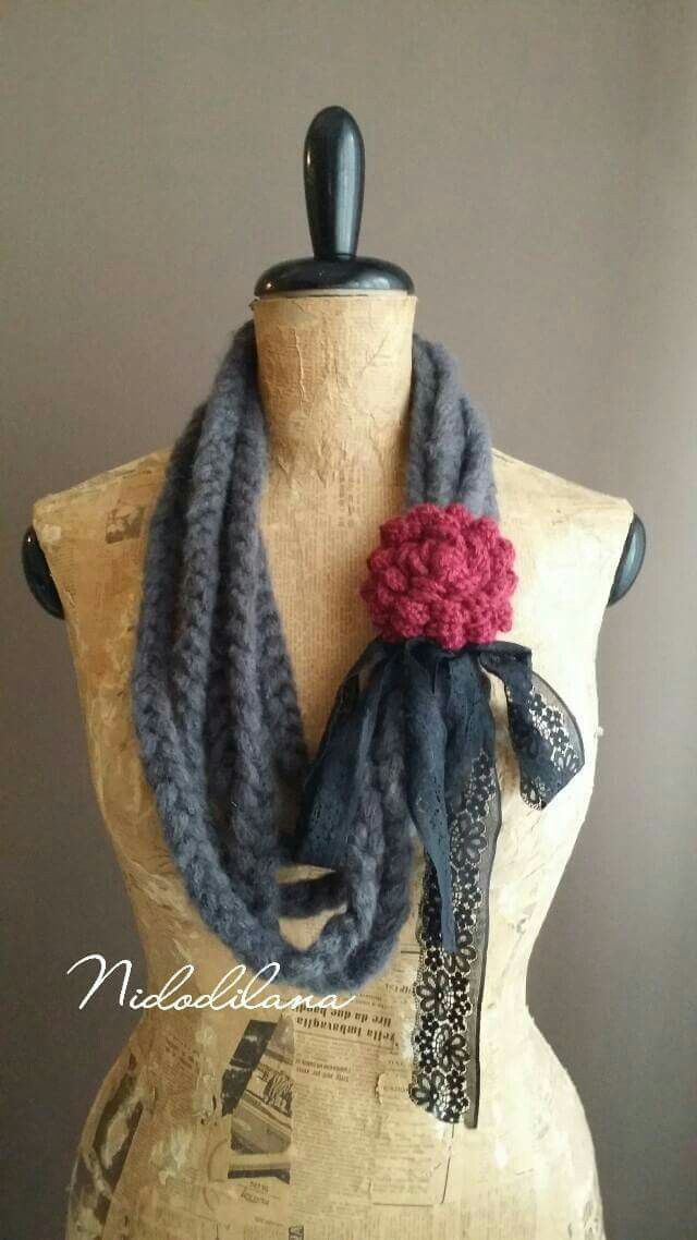 Necklace or scarf crochet?  Wool and black lace.