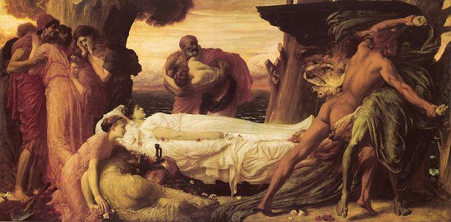 Πάλη με το θάνατο για το σώμα της Αλκηστης.