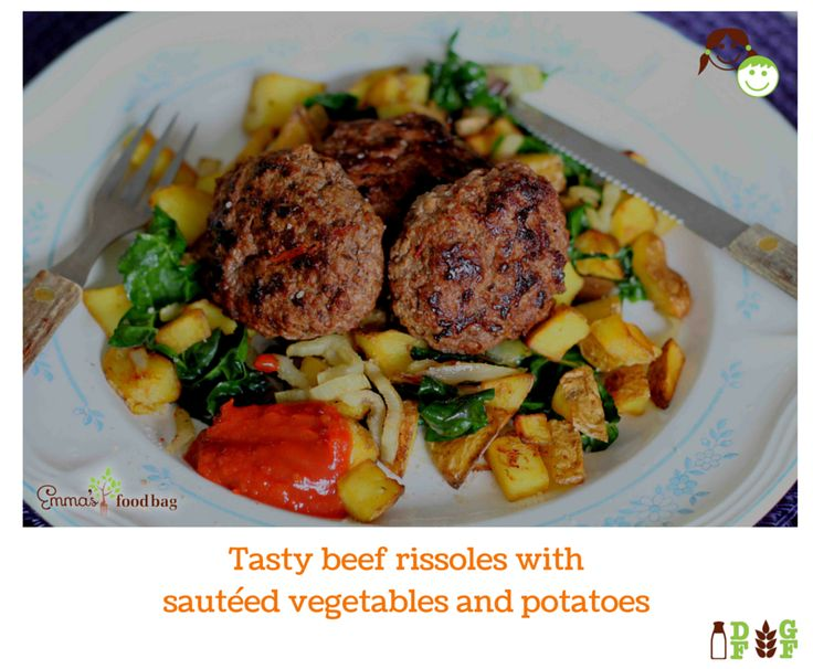 Tasty beef rissoles with sautéed vegetables and potatoes