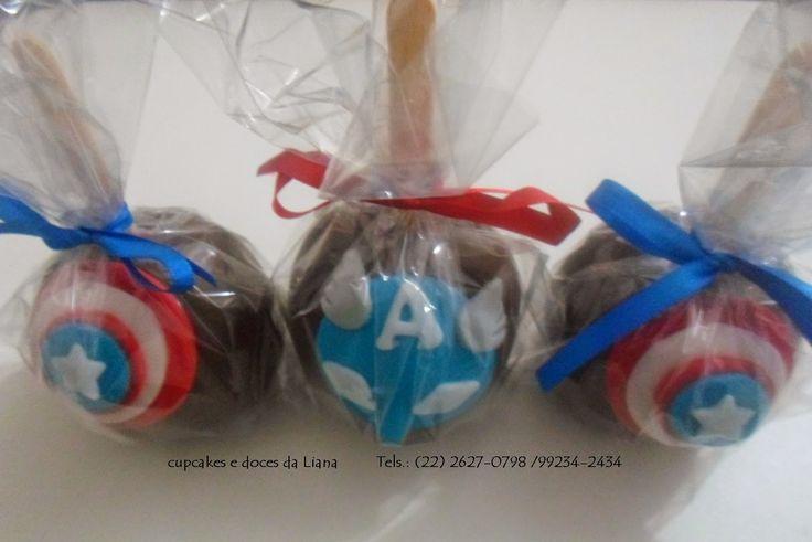 Cupcakes e Doces da Liana: maçã do amor capitão américa