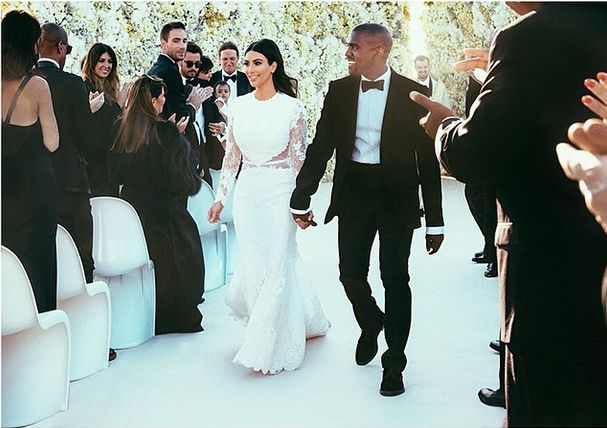 Bella! First Pic of Kim Kardashian, Kanye West and North at Their Wedding