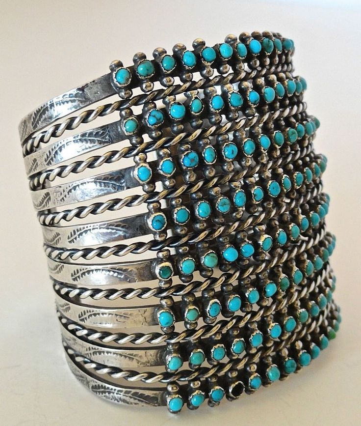 VINTAGE OLD PAWN ZUNI STERLING/TURQUOISE 8-ROW SNAKE EYE CUFF BRACELET in Jewelry & Watches, Ethnic, Regional & Tribal, Native American | eBay