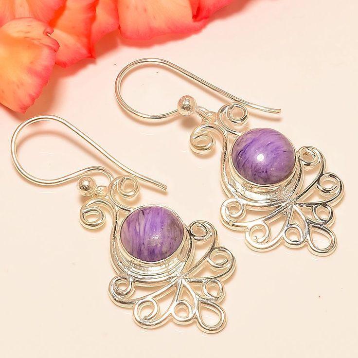 "Russian Charoite 925 Sterling Silver Jewelry Earring 1.81"" #Handmade #DropDangle"
