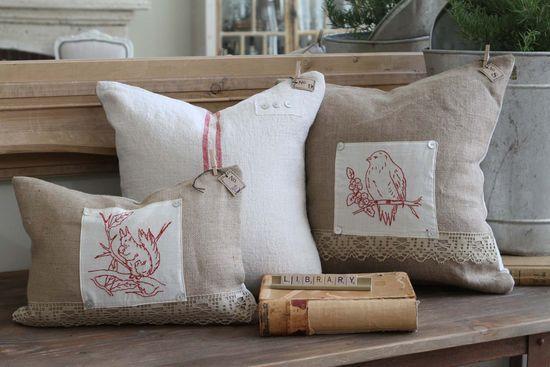 redwork pillows