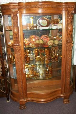 American Oak Serpentine Glass China Cabinet Morris