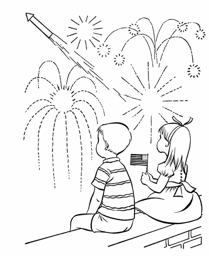 july 4th coloring pages fireworks show coloring sheet
