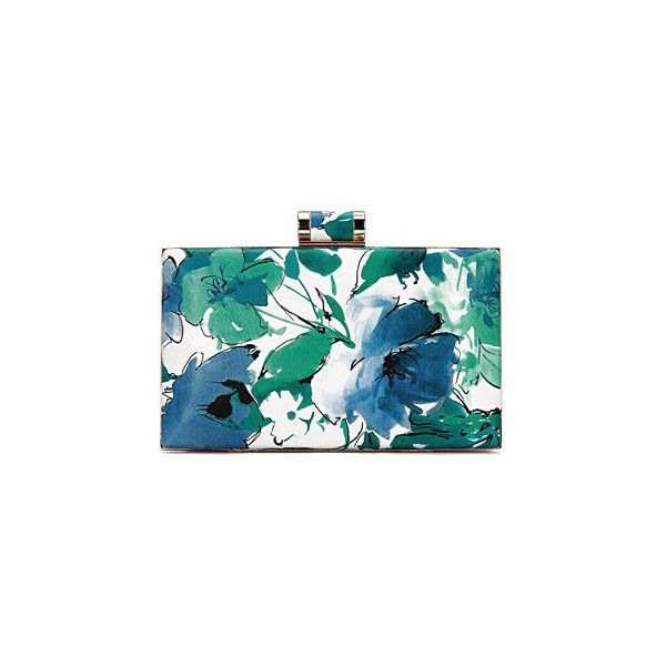 Yoins Floral Wash Painting Leather-look Box Clutch Bag in Blue and... ($27) ❤ liked on Polyvore featuring bags, handbags, clutches, box clutch, chain handbags, vegan handbags, chain purse and vegan leather handbags