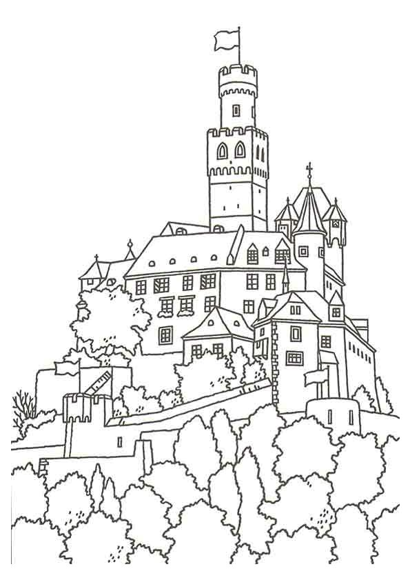 Coloriage coloriage chateau fort pinterest - Coloriage de chateau ...