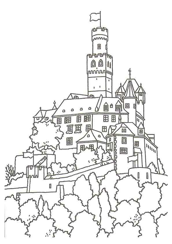 Coloriage coloriage chateau fort pinterest - Chateau coloriage ...