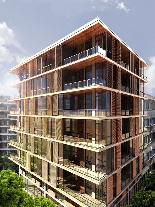 The visualisation of the facade of a seven storey apartment in Moda/istanbul. Wooden panels are inserted for providing sunlight control and giving dynamism to the building.