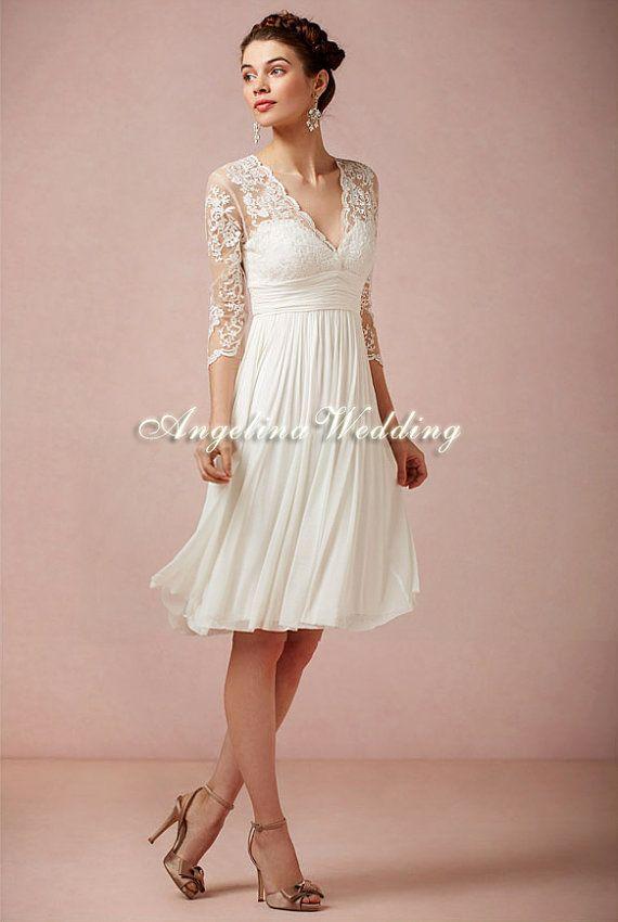 V-neck Short Wedding dress, Chiffon Knee Length Short sleeves wedding gown on Etsy, $279.99