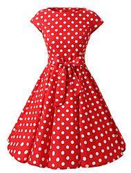 vrouwen kapmouwtjes rood zwart paars stipkleding, vintage kapmouwtjes jaren '50 rockabilly swing jurk