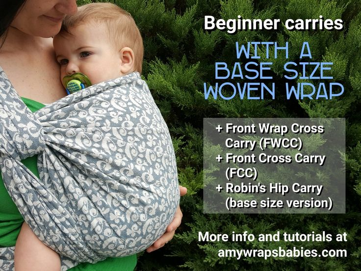 Beginner carries with a base size woven wrap. 1. Front Wrap Cross Carry or FWCC. 2. Front Cross Carry or FCC. 3. Robin's Hip Carry, base size version. More info and tutorials at amy wraps babies dot com. -end quote- Photo is an image of Amy, a thin white woman, wearing her baby on her fron in a blue and off-white woven wrap Yaro Slings tied in a Robin's Hip Carry.