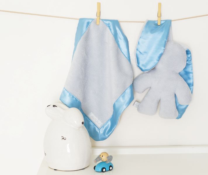 Lily and Jack Snuggle Blankie and Bunnie - Grey with Blue Trim