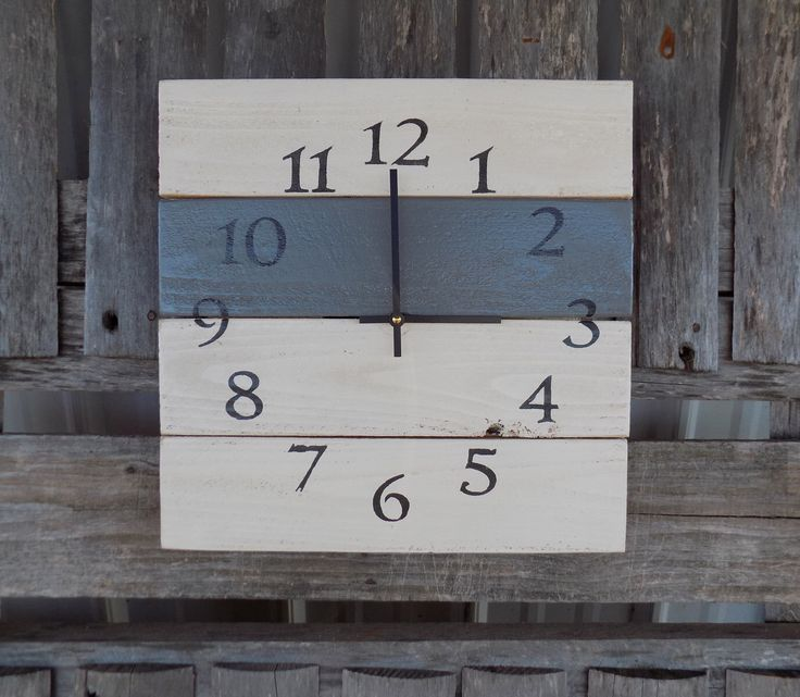 White and Grey Pallet Wood Clock, Rustic Wall Clock, Primitive Square Clock, White and Grey Clock, Wood Wall Clock, DIstressed Clock by ThePalletDoctor on Etsy https://www.etsy.com/listing/290380793/white-and-grey-pallet-wood-clock-rustic
