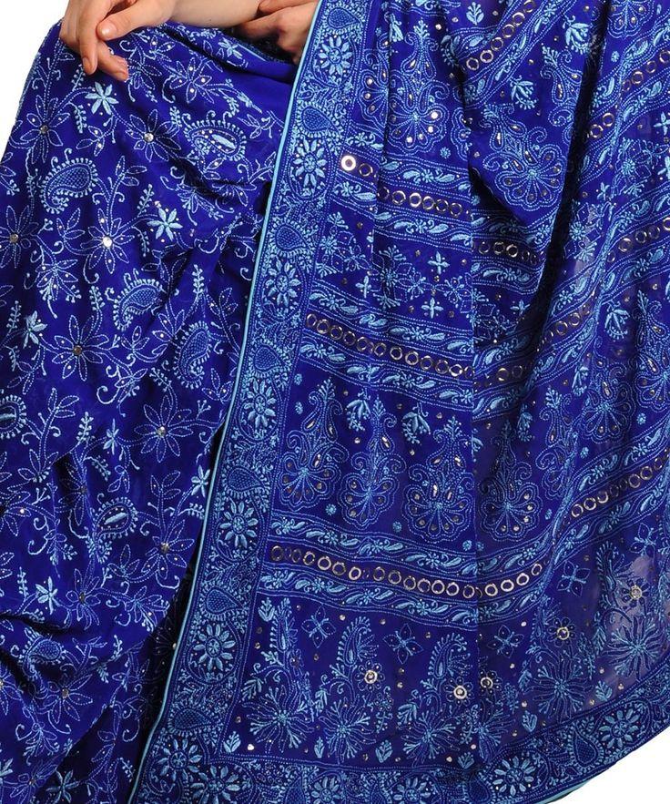 Heirloom Pick Royal Blue and Aqua Resham Chikankari & Kamdani Saree