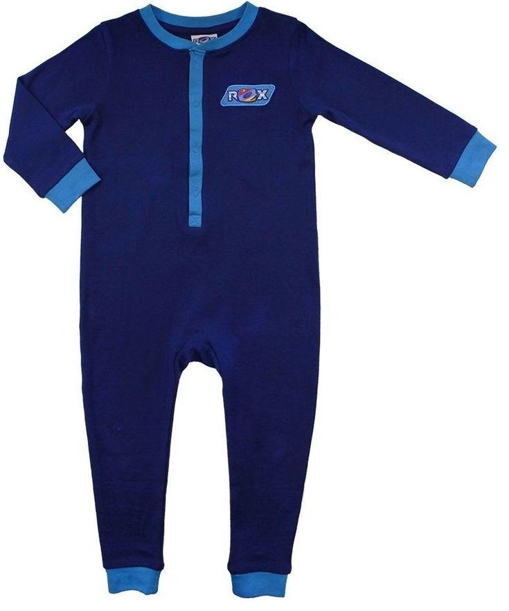 Stoere onesie van Rox. Zeer makkelijk aan en uit te trekken dankzij de drukknoopjes. Rox Jongens Baby pyjama - Donkerblauw - Maat 98/104 - Onesie Rox