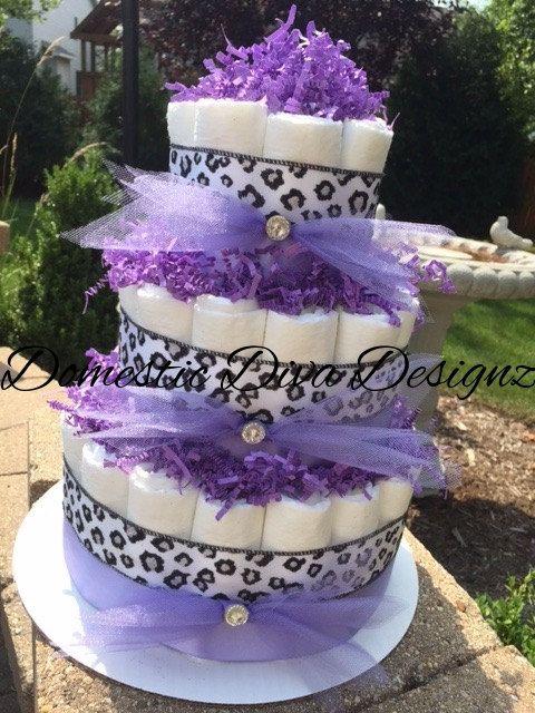 Diaper Cake Lavender & Cheetah Elegant от DomesticDivaDesignz