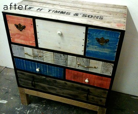 not in love with the colours. but I love the concept of this and any repurposed crate furniture.