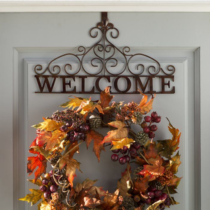 Rustic Welcome Wreath Hanging Accessory Wreath Holder Hanging Wreath Welcome Wreath