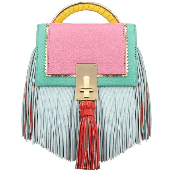The Volon Bon-bon Mint Color Block Handbag featuring polyvore, women's fashion, bags, handbags, shoulder bags, mint, handbags purses, pink fringe purse, pink hand bags, man bag and fringe tassel shoulder bag