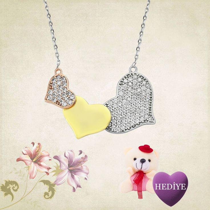 Gümüş Üç Kalp Kolye - Ayıcık Hediyeli :: Zinde Market