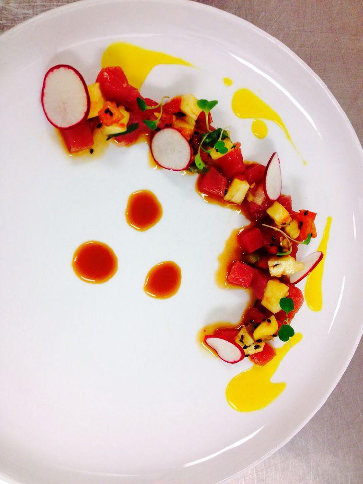 Tuna Ceviche - bluegrass soy, pineapple, aji amarillo