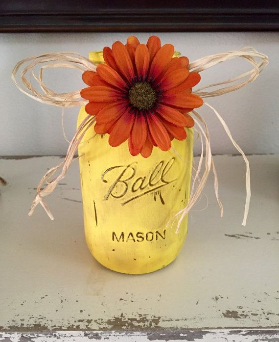 Distressed mason jar fall decoration decorations
