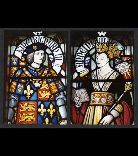 Richard III et la reine Anne Neville, vitraux du château de Cardiff (Crédit: University of Leicester)