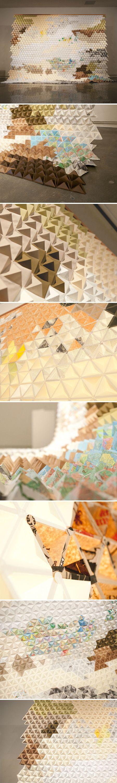 Eva Black, installation of folded paper triangles.Paper Cranes, Origami Paper, Paper Art, Paper Sculpture, Origami Art, Paper Installations, Art Techniques, Paper Triangles, Eva Black