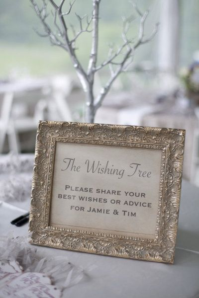 Framed instruction note to guests for wishing tree... again, this particular form of giving best wishes would be nice for a winter wedding.