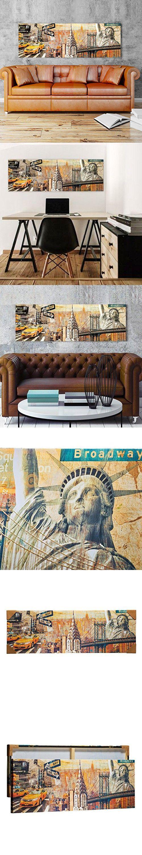 "Wall Art Framed on Wood Canvas Print Paris Sunkissed Manhattan NYC Eiffel Tower College Style Art TOP DecorArt 16""x47"""