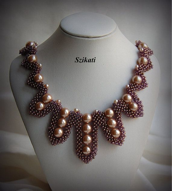 Beaded seed bead & pearl Right Angle Weave necklace by Szikati, $150.00