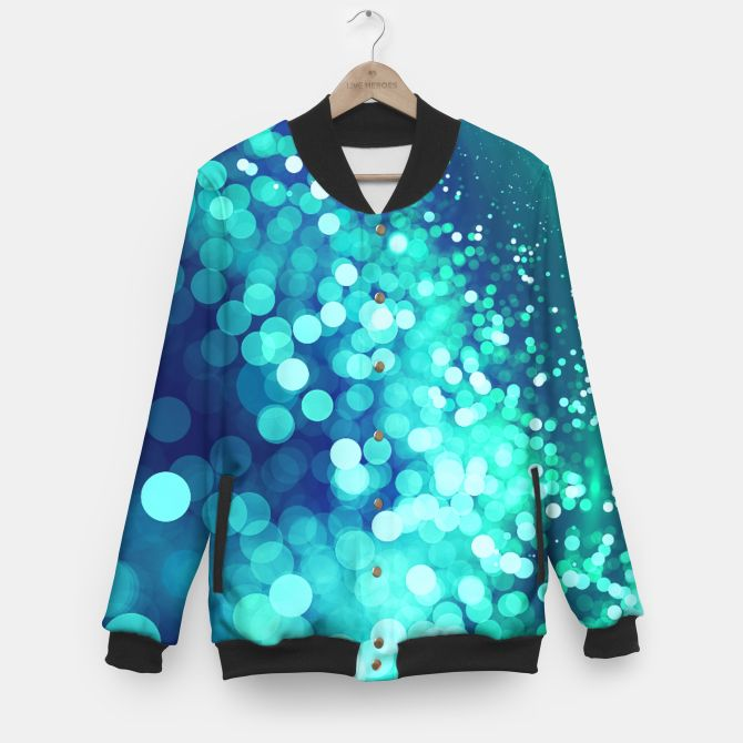 Aqua Blue Glitter Sparkles Baseball Jacket, Live Heroes @liveheroes by @photography_art_decor. All product: https://liveheroes.com/en/brand/oksana-fineart #fashion #clothing #online #shop #design #geometry #metalic #bright #shine #psychedelic #abstract #metalic #abstract #briht #pattern #trendy #stylish #fashionable #modern #awesome #amazing #clothes  #glitter #bokeh #dots #sparkling #girly #twist #swirl #psychedelic #light #aqua #blue #marine #water #sparkles #night