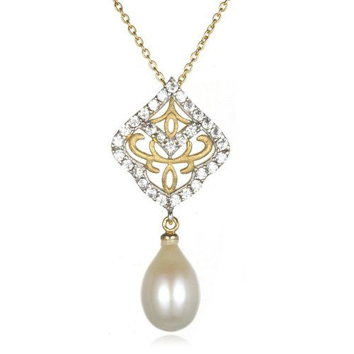 Rhodium Plated Silver Two Tone Satin Finish Cultured Freshwater Pearl Drop Pendant-18""