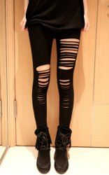 Fashionable Style Solid Color Hipster Slimming Leggings For Women (BLACK,ONE SIZE) | Sammydress.com Mobile