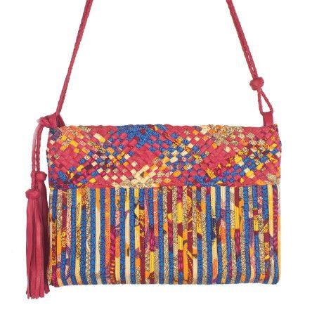PRISME Petit sac bandoulière en cuir et tissu wax