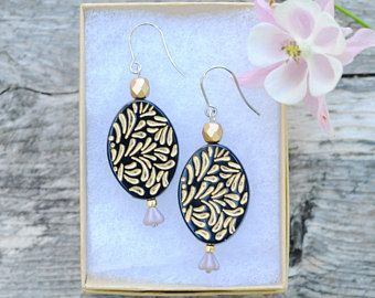 Carved bead earrings by Milanka Design