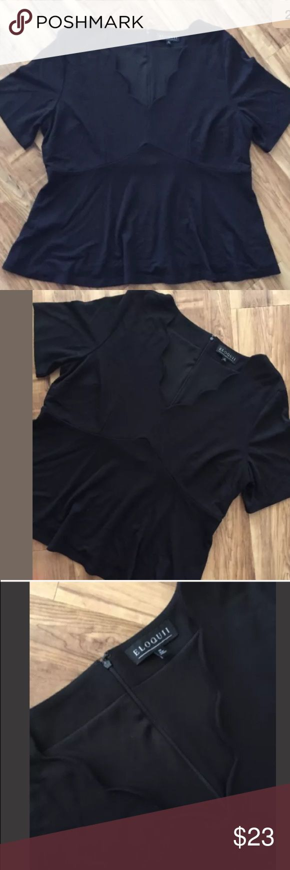 Eloquii Black Scallop Peplum top Plus Size 20 Eloquii Black Scallop Peplum top Women's Plus Size 20  Zip up back  Armpit to armpit is 23 inches  Shoulder to bottom is 25 inches  Great condition! Eloquii Tops Blouses