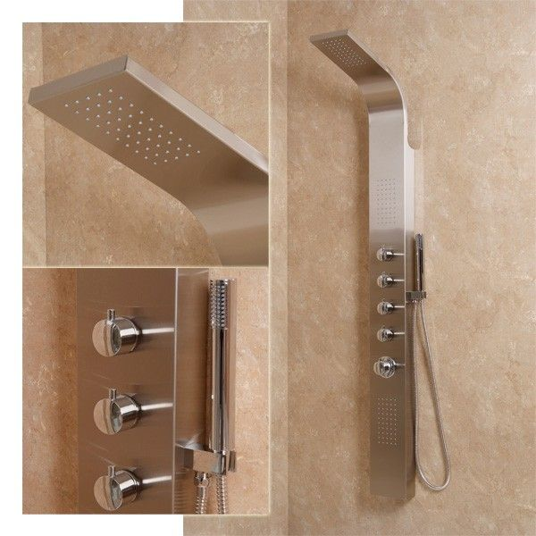 The Ocean Thermostatic Shower Panel, priced at £240.95. This Ocean aluminium thermostatic shower panel has seperate flow and temperature controls with diverting valves for different showering positions. Features overhead, handset and rain effect body jets as well as an automatic shutdown should the cold water fail. http://www.taps.co.uk/ocean-thermostatic-shower-panel.html